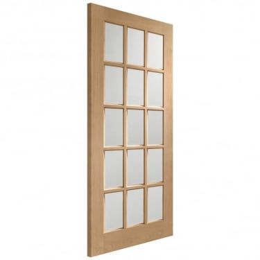 Internal Oak Unfinished SA77 15L Door with Clear Bevelled Glass (GOSABV)
