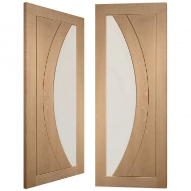 Internal Oak Unfinished Salerno 2L Pair Door with Clear Flat Glass (GOPSAL)