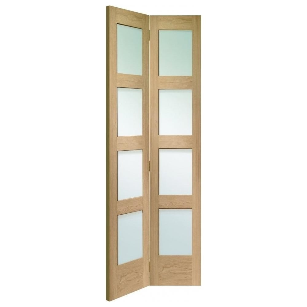 Internal Oak Unfinished Shaker 8l Bi Fold Door With Clear Glass Gobfsha
