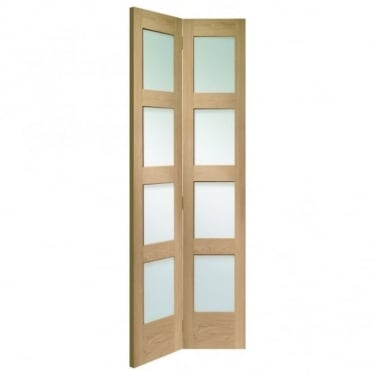 Internal Oak Unfinished Shaker 8L Bi-Fold Door with Clear Glass (GOBFSHA)