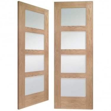Internal Oak Unfinished Shaker 8L Pair Door with Clear Glass (GOPSHA4LC)