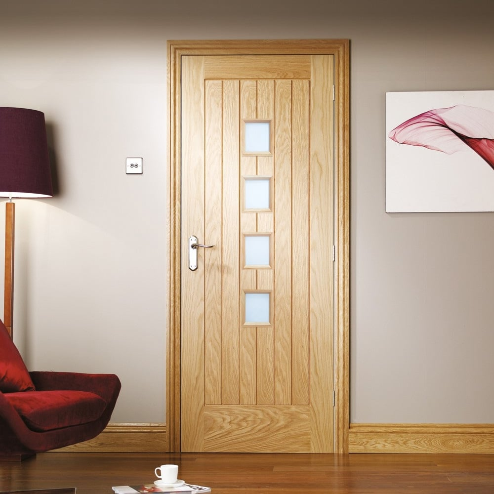 Internal Oak Unfinished Suffolk 4l Door With Obscure Glass Gosufc4l