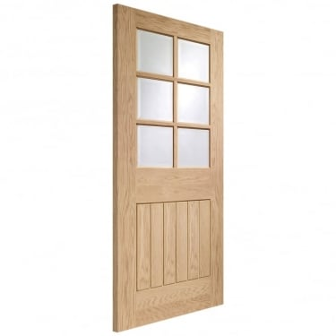 Internal Oak Unfinished Suffolk 6L FD30 Fire Door with Clear Glass (GOSUF6L-FD)