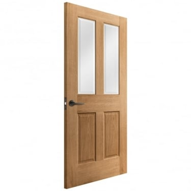 Internal Oak Unfinished Victorian 2L Door with Clear Bevelled Glass (IOVICTCBG)