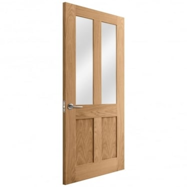 Internal Oak Unfinished Victorian Shaker 2L Door with Clear Glass (IOMALCG)