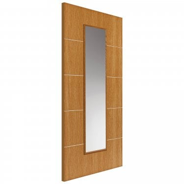 Internal Painted Gallery Oak Louvre Door With Clear Glass