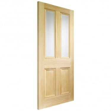 Internal Pine Unfinished Edwardian 2L Door with Clear Bevelled Glass (GVGEDW)