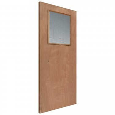 Internal Plywood Unfinished Paint Grade 1L Flush Solid FD30 Fire Door with Georgian Wired Glass (KIGOG)