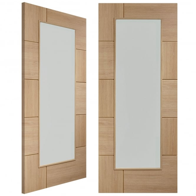 XL Joinery Internal Pre-Finished Oak Ravenna Pair Door with Clear Glass