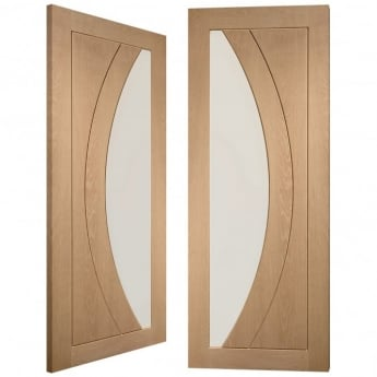 XL Joinery Internal Pre-Finished Oak Salerno Pair Door with Clear Flat Glass