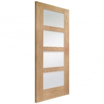 XL Joinery Internal Pre-Finished Oak Shaker Fire Door with Obscure Glass