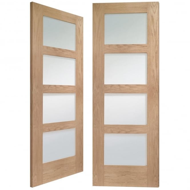 XL Joinery Internal Pre-Finished Oak Shaker Pair Door with Clear Glass