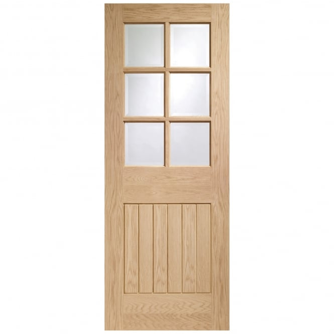 XL Joinery Internal Pre-Finished Oak Suffolk Door with Clear Bevelled Glass