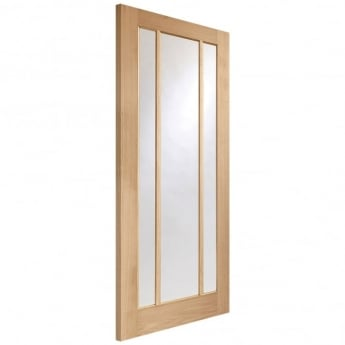 XL Joinery Internal Pre-Finished Oak Worcester 3 Light Fire Door with Clear Glass