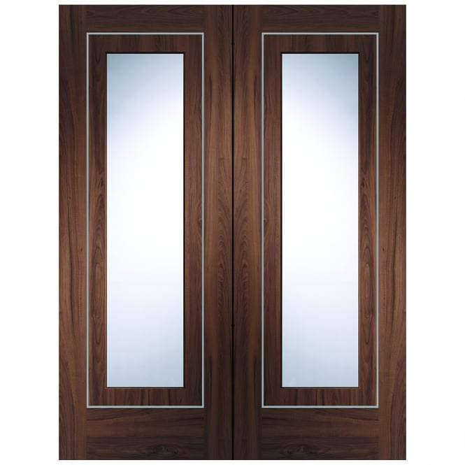 XL Joinery Internal Pre-Finished Walnut Varese Pair Door with Clear Glass
