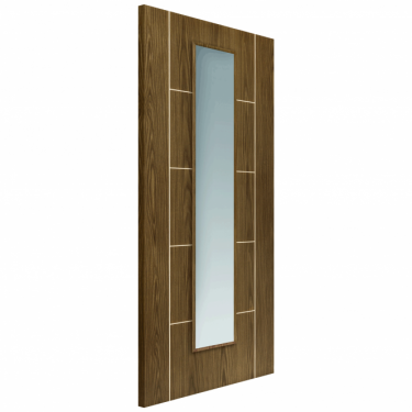 Internal Soft Walnut Fully Finished Painted Mocha 1L Door with Clear Glass (ECMOCG)
