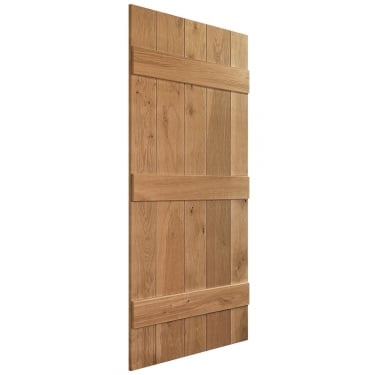 Internal Solid Rustic Oak Unfinished Grange Solid Ledged Door (DIE49-RUSTIC)