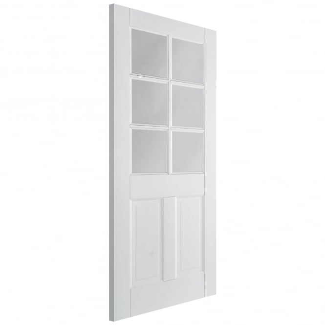 LPD Doors Internal Solid White Primed Canterbury 2P/6L Door with Clear Glass