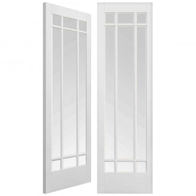 LPD Doors Internal Solid White Primed Manhattan Pair Door with Clear Bevelled Glass