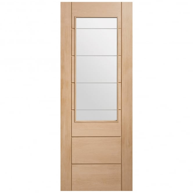 XL Joinery Internal Un-Finished Oak Palermo 2XG Door with Clear Etched Glass