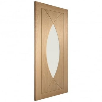 XL Joinery Internal Un-Finished Oak Pesaro Fire Door with Clear Glass