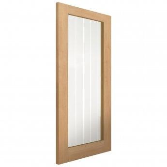 JB Kind Internal Un-Finished River Cottage Oak Thames 1L Door With Clear Etched Glass