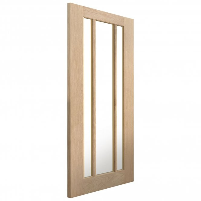 JB Kind Doors Internal Un-Finished River Traditional Oak Darwen Door With Clear Glass