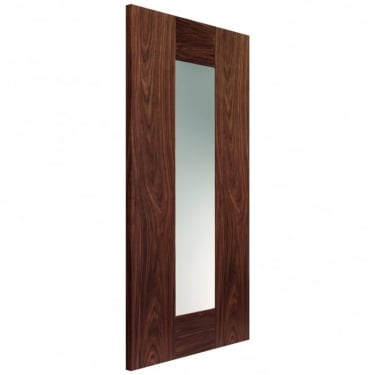 Internal Walnut Fully Finished Axis 1L Solid Door with Clear Glass (VWAXIG)