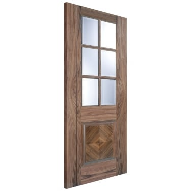 Internal Walnut Fully Finished Barcelona 6L Door with Clear Bevelled Glass (BARWAL)