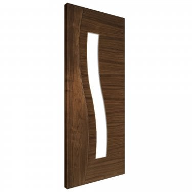 Internal Walnut Fully Finished Cadiz 1L Solid Door with Clear Glass (CADWGXFSC)