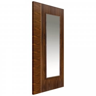 Internal Walnut Fully Finished Edras 1L Flush Door with Clear Glass and Raised Mouldings and with Oak Inlay (WEDR)