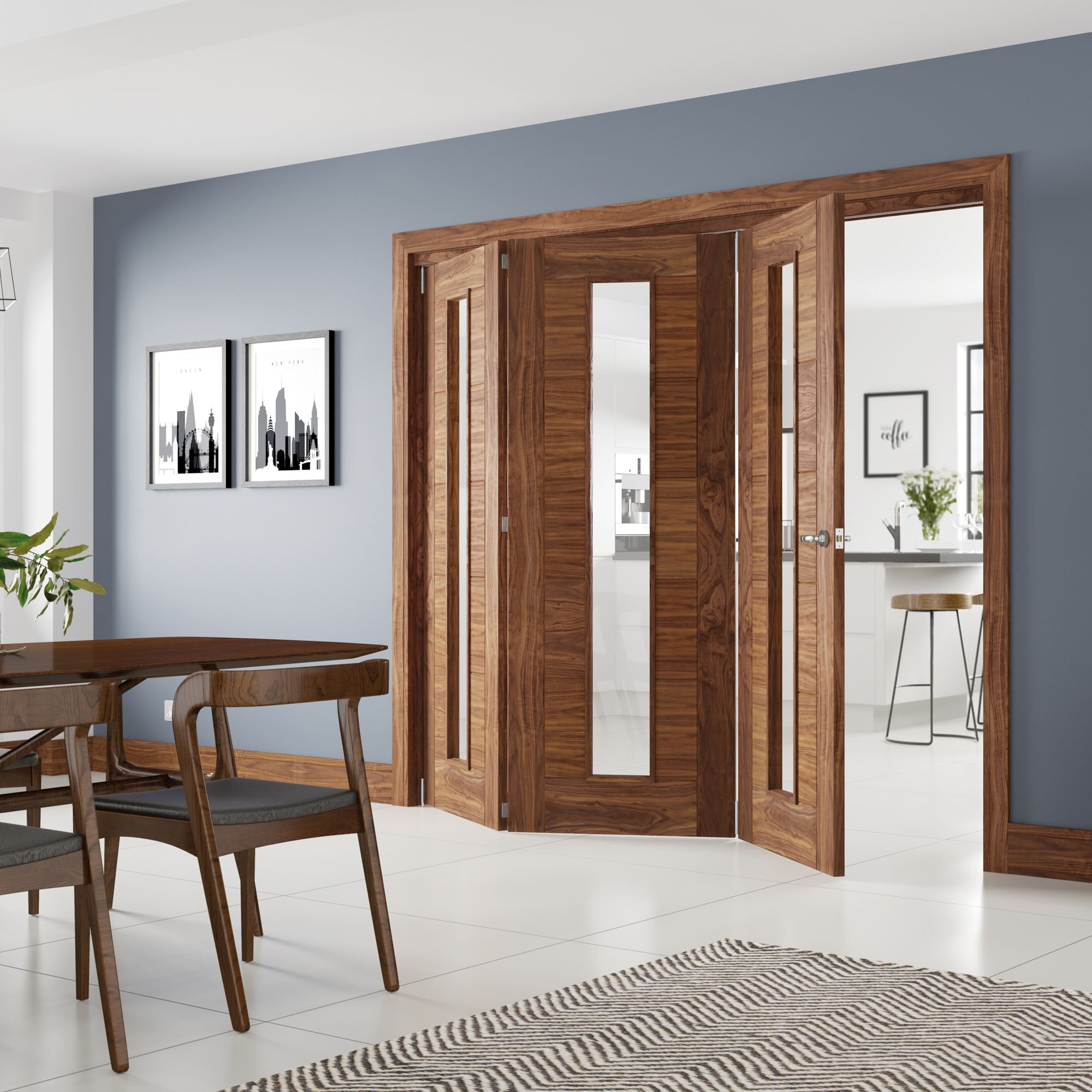 Deanta Internal Walnut Unfinished Fold Glazed Unglazed Room Divider Leader Doors