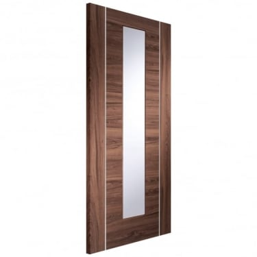 Internal Walnut Fully Finished Forli 1L Door with Clear Glass (PFGWALFOR)