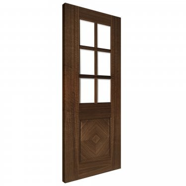 Internal Walnut Fully Finished Kensington 1L Solid Door with Clear Bevelled Glass (KENSGWXFSC)