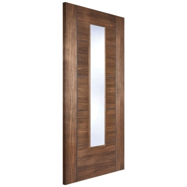 Internal Walnut Fully Finished Laminate Vancouver 1L Door with Clear Glass (LAMWALVANGL)