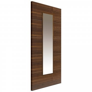 Internal Walnut Fully Finished Parisienne 1L Flush Door with Clear Glass and Raised Mouldings (WPAR)