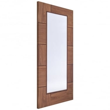 Internal Walnut Fully Finished Ravenna 1L Door with Clear Glass (PFGWALRAV)