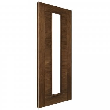 Internal Walnut Fully Finished Seville 1L FD30 Fire Door with Deanta Fire Glass (UK16CGF/DWXFSC)