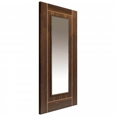 Internal Walnut Fully Finished Valcor 1L Flush Door with Clear Glass and Raised Mouldings and with Oak Inlay (WVAL)