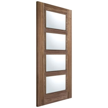 Internal Walnut Fully Finished Vancouver 4L Door with Clear Glass (WALVAN4L)