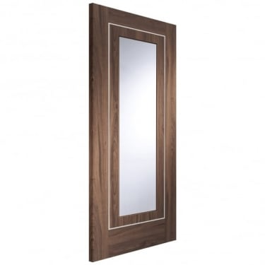 Internal Walnut Fully Finished Varese 1L Door with Clear Glass (PFGWALVAR)