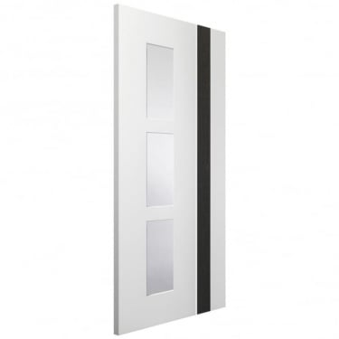 Internal White & Dark Grey Fully Finished Fusion Praiano 3L Door with Clear Glass (PFGWDGPRA)
