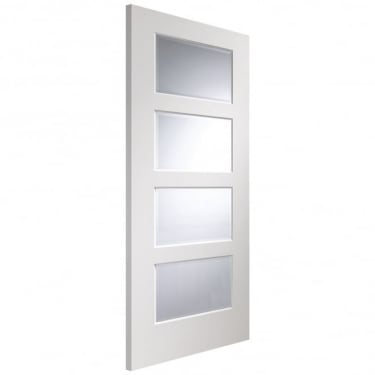 Internal White Fully Finished Severo 4L Door with Clear Bevelled Glass (PFGWFSEV)