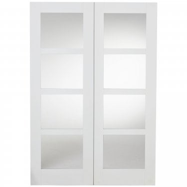 Internal White Fully Finished Shaker Pair Door with Clear Glass