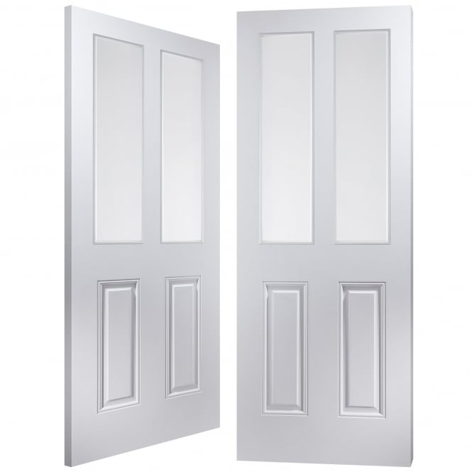 Internal White Moulded Arlington 2 Light Etch Clear Pair Door