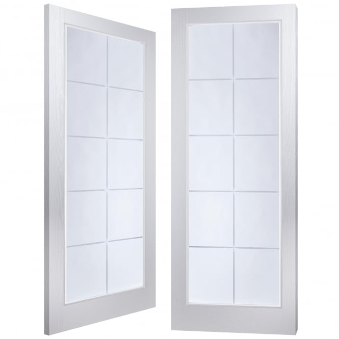 Internal White Moulded Bostonian/Oakfield 10 Light Etch Clear Pair Door