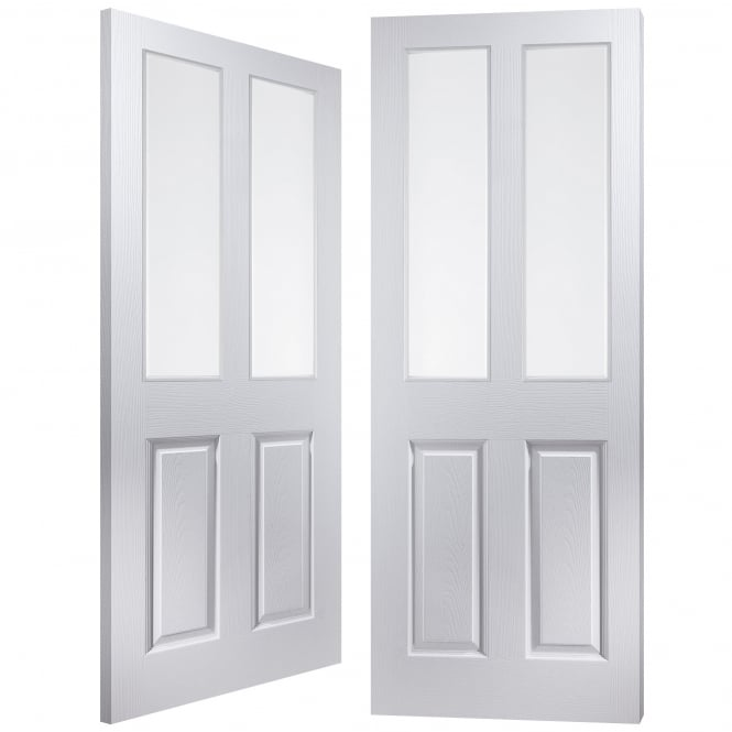 Internal White Moulded Bostonian/Oakfield 2 Light Clear Pair Door