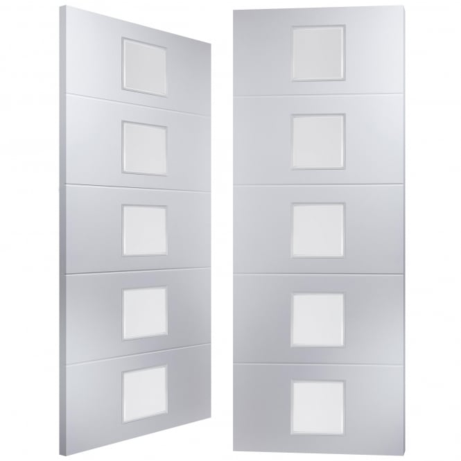 Internal White Moulded Linea 5 Light Etch Clear Pair Door