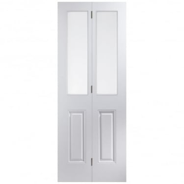 Internal White Moulded Unfinished Arlington 2L Bi-Fold Door with Etched Clear Glass (APBIAR+ET)