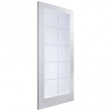 Internal White Moulded Unfinished Atherton 10L Door with Etched Clear Glass (AP1ATH+SE)